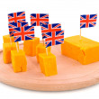 Stock Photo: Cubes Cheddar cheese