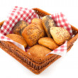 Luxury bread rolls in basket — Stock Photo