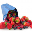 Paper bag filled with fruit — Stock Photo