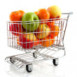 Shopping cart with fruit — Stock Photo