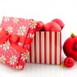 Box with christmas balls - Stock Photo