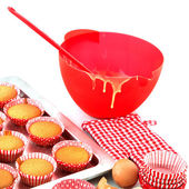 Baking red cup cakes — Stock Photo