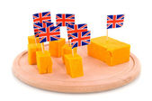Cubes Cheddar cheese — Stock Photo