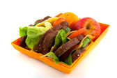 Healthy open lunch box — Stock Photo