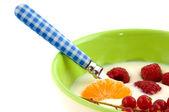 Yoghurt with fruit — Stock Photo