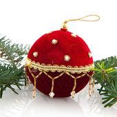 Red velvet christmas ball — Stock Photo