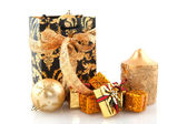 Golden christmas presents — Stock Photo