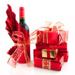 Christmas presents in red — Stock Photo