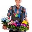 Gardener with flowers - Photo