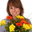 Girl with colorful bouquet — Stock Photo