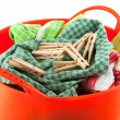 Laundry and clothes pins — Stock Photo