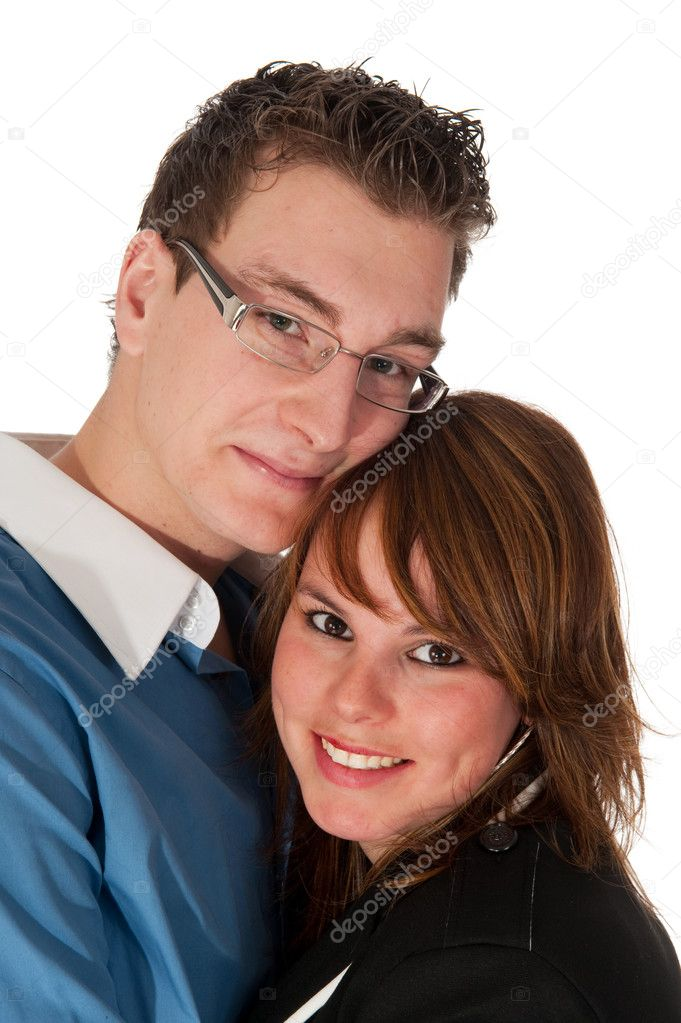 Portrait of a loving young couple in the studio  Stock Photo #3021068