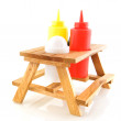 Stock Photo: Picnic table for fast food