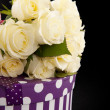 White roses with present — Stock Photo