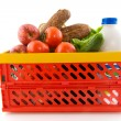 Plastic crate for shopping — Stock Photo