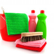 Cleaning products with red bucket — Stock Photo #3140987