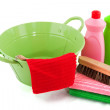 Barrel with cleaning products — Stock Photo