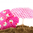 Parasols at the beach — Stock Photo