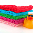 Stock Photo: Folded towels with marine duck