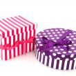 Purple and red striped present — Stock Photo