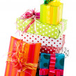 Pile with luxury wrapped surprises — Stock Photo