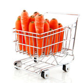 Shopping cart with carrots — Stock Photo
