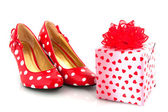 Shoes with love present — Stock Photo