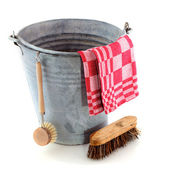 Zinc bucket with cleaning brush — Stock Photo