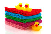 Folded towels with little ducks — Stock Photo