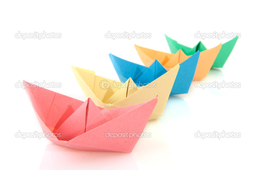 Colorful folder paper boats isolated over white  Stock Photo #3141901