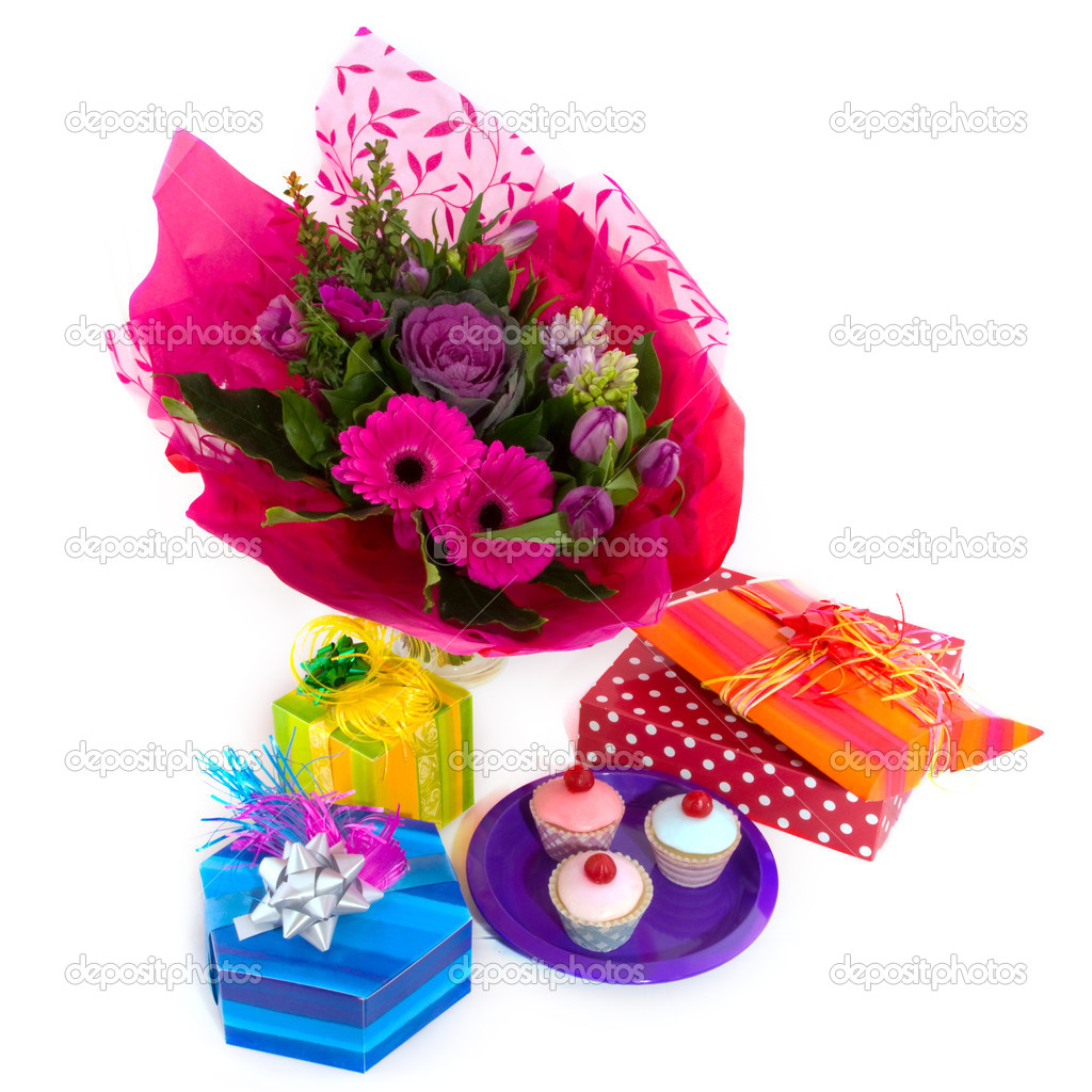 Happy birthday with flowers surprises and fancy cakes  Stock Photo #3143849