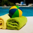 Stock Photo: Towels near the swimming pool