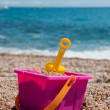 Beach with plastic toys — Stock Photo #3440480