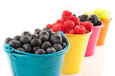 Colorful buckets fruit — Stock Photo