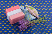 Lavender soap and scented sackets — Stock Photo