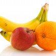 Stock Photo: Bananas apple and orange