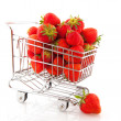 Shopping cart strawberries — Stock Photo #3551296