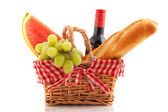 Picnic basket with food — Stock Photo