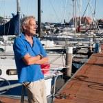 Man in harbor — Stock Photo