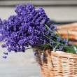 Stock Photo: Wicket cane basket with Lavender