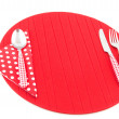 Stock Photo: Place mat with red cutlery