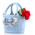 Blue baby basket — Stock Photo