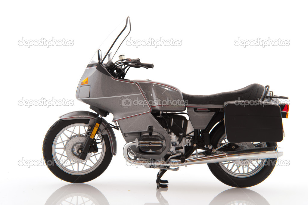 Gray tour Motor bike isolated white background — Stock Photo #3775975