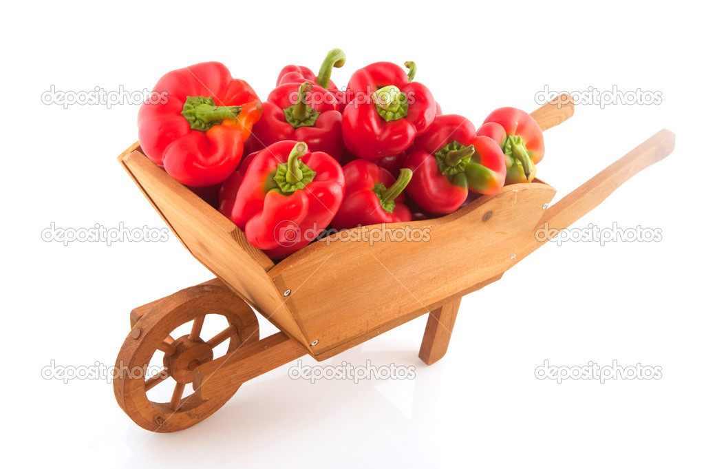 Wooden wheelbarrow full with fresh red paprika — ストック写真 #3776348