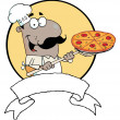 Cartoon Proud African American Chef Inserting A Pepperoni Pizza — Stock Photo