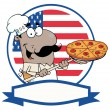 Royalty-Free Stock Photo: African American Chef Inserting A Pepperoni Pizza In Front Of Flag Of USA