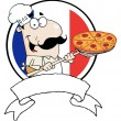 Stock Photo: Proud Chef Inserting A Pepperoni Pizza In Front Of Flag Of France