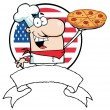 Stock Photo: cartoon proud chef holds up pizza in front of flag of usa