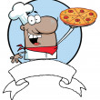 Cartoon African American Proud Chef Holds Up Pizza — Stock Photo