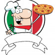 Cartoon Logo-Proud Chef Holds Up Pizza — Stock Photo